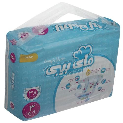 پوشک مای بیبی آبی سری مهربان با پوست سایز 3 بسته 38 عددی