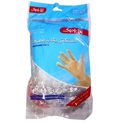 دستکش یک بار مصرف  پلاستیکی شرینک لفاف 100عددی چسبی